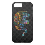 Cute Elephant In Colorful Glitter On Black iPhone 7 Plus Case