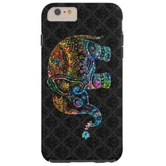 Cute Elephant In Colorful Glitter On Black Tough iPhone 6 Plus Case