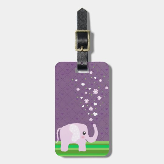 Cute elephant in girly pink & purple bag tag