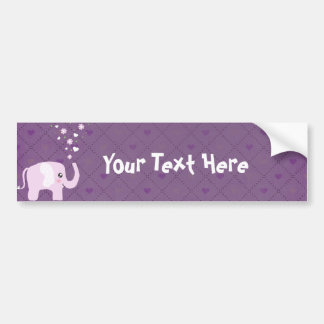 Cute elephant in girly pink & purple bumper sticker