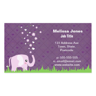 Cute elephant in girly pink & purple business cards