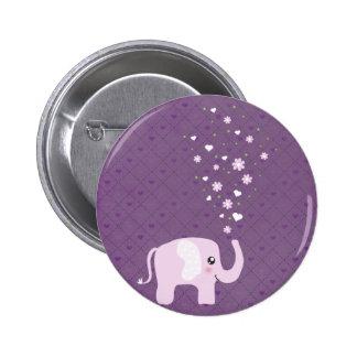 Cute elephant in girly pink & purple pin
