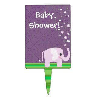 Cute elephant in girly pink & purple cake picks