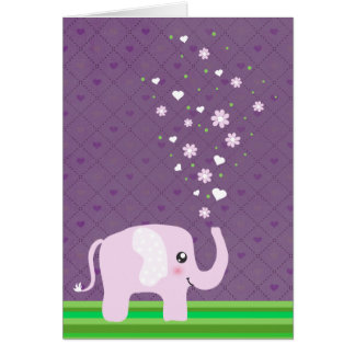 Cute elephant in girly pink & purple cards
