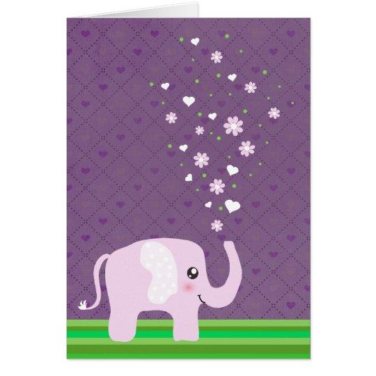 Cute elephant in girly pink & purple card