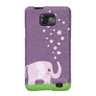 Cute elephant in girly pink & purple galaxy SII cover