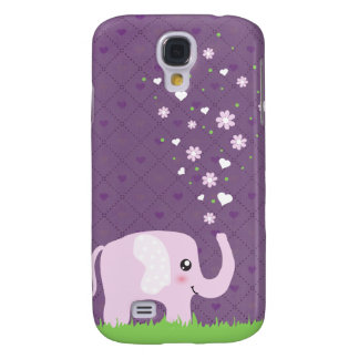 Cute elephant in girly pink & purple samsung galaxy s4 covers
