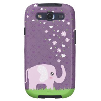 Cute elephant in girly pink & purple galaxy s3 covers