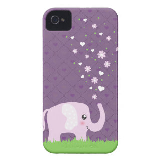 Cute elephant in girly pink & purple iPhone 4 cases