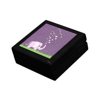 Cute elephant in girly pink & purple jewelry boxes