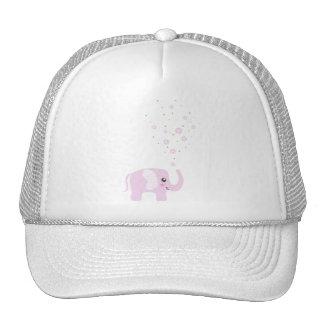 Cute elephant in girly pink & purple trucker hats