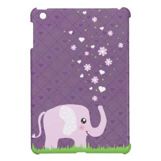 Cute elephant in girly pink & purple iPad mini case