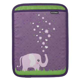 Cute elephant in girly pink & purple sleeves for iPads
