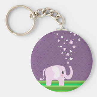 Cute elephant in girly pink & purple keychains