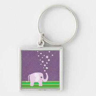 Cute elephant in girly pink & purple keychain