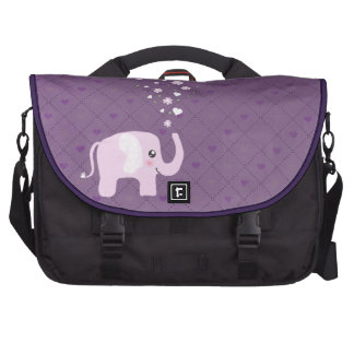 Cute elephant in girly pink purple commuter bag