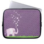 Cute elephant in girly pink & purple laptop computer sleeve