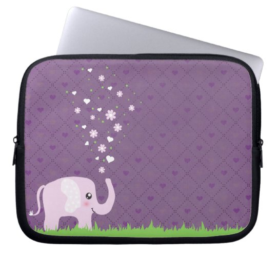Cute elephant in girly pink & purple laptop sleeve