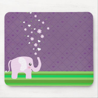 Cute elephant in girly pink & purple mouse pads