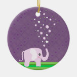 Cute elephant in girly pink & purple Double-Sided ceramic round christmas ornament