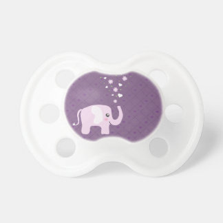 Cute elephant in girly pink & purple baby pacifier