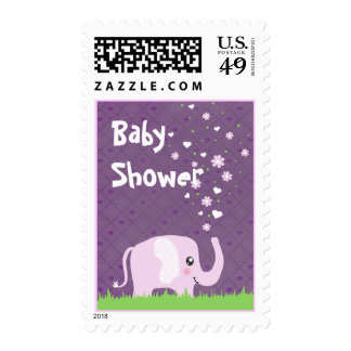 Cute elephant in girly pink & purple stamp