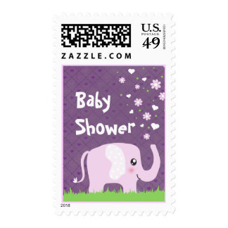 Cute elephant in girly pink & purple postage stamp