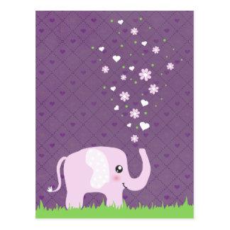 Cute elephant in girly pink & purple postcards