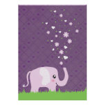 Cute elephant in girly pink & purple poster