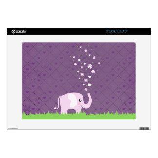 Cute elephant in girly pink & purple skin for laptop