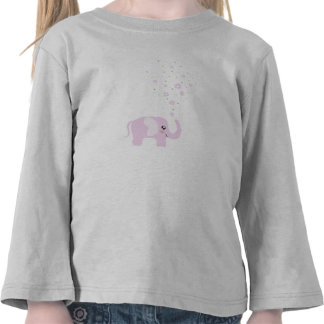 Cute elephant in girly pink & purple t-shirts