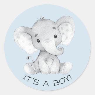 Cute Elephant It' a Boy Favor Sticker