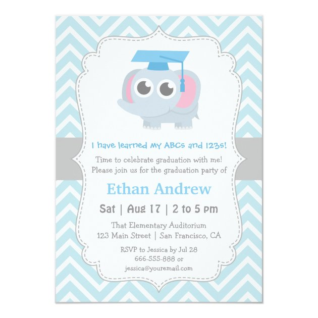 Cute Elephant Kids Kindergarten Graduation Party 4.5x6.25 Paper Invitation Card