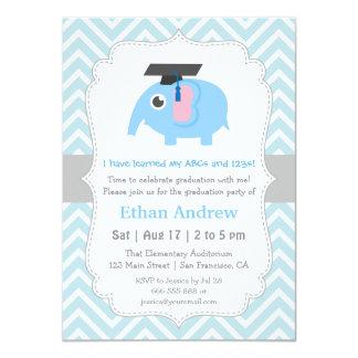 Cute Elephant Kids Kindergarten Graduation Party Card