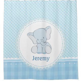 Cute Elephant Light Blue Plaid for Kids Children Shower Curtain