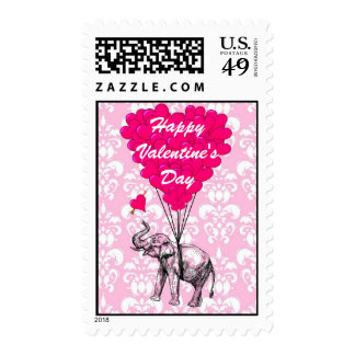Cute elephant love heart Valentine's Stamp
