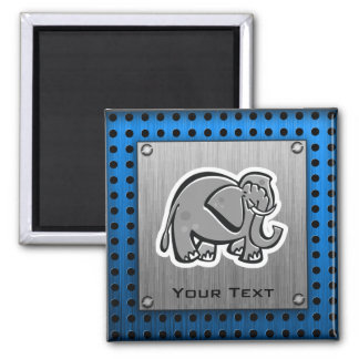 Cute Elephant; Metal-look 2 Inch Square Magnet