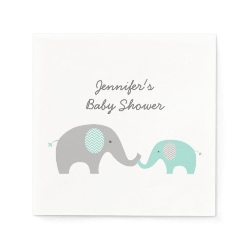 Cute Elephant Napkins Mint Green & Grey