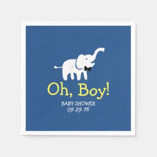 Cute Elephant Navy Blue Boy Baby Shower Paper Napkin