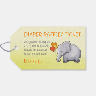 Cute Elephant Neutral Baby Shower Diaper Raffle Gift Tags