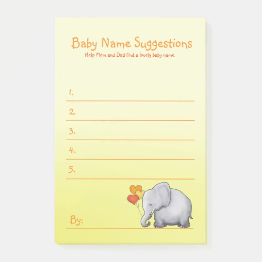cute elephant neutral baby shower suggest name post it notes