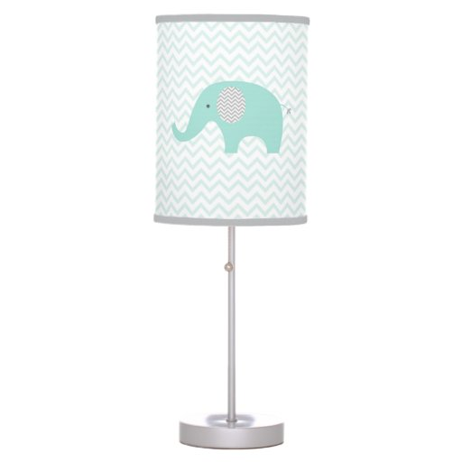 Cute Elephant Nursery Lamp Mint Green & Grey