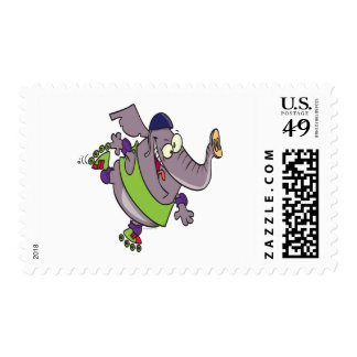 cute elephant on rollerblades silly cartoon postage stamps