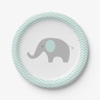 Cute Elephant Paper Plates Mint Green & Grey