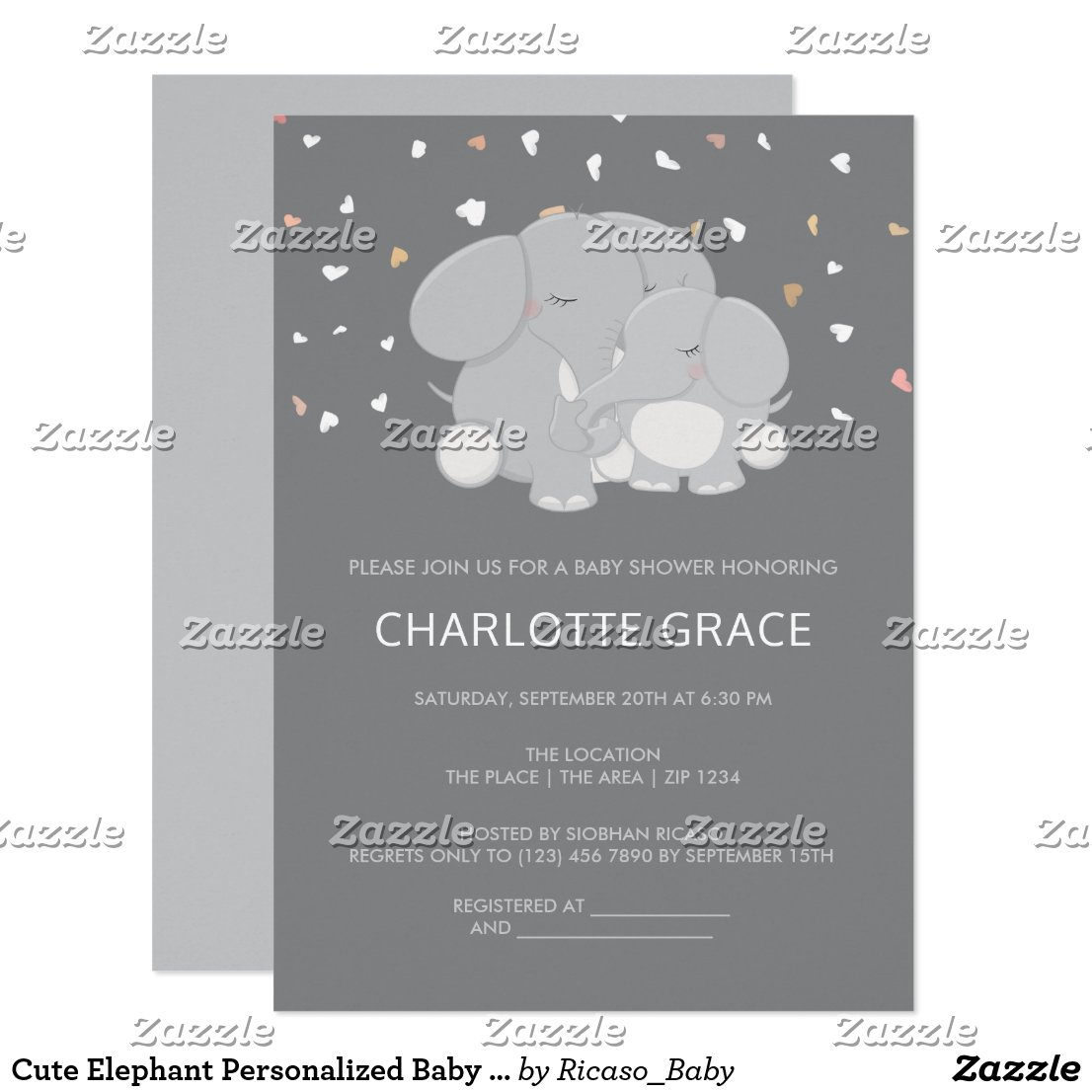 Cute Elephant Personalized Baby Shower Invitation