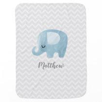 Cute Elephant Personalized Boy Baby Blanket