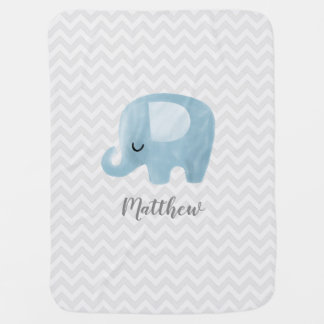 Cute Elephant Personalized Boy Baby Blanket