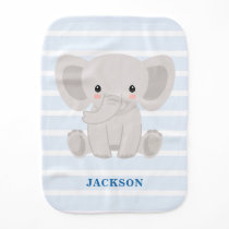 Cute Elephant Personalized Boy Baby Burp Cloth