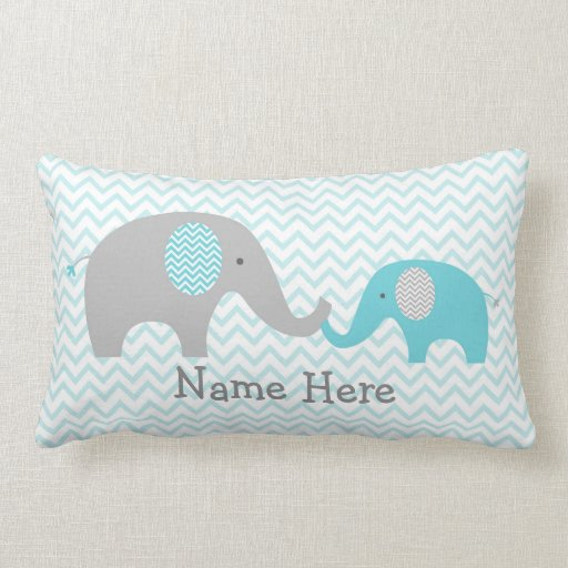 Cute Elephant Personalized Pillow Teal & Grey