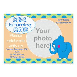 Cute Elephant Photo Birthday Invitation,Babies 1st Card